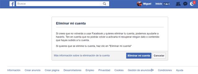 borrar tu cuenta de Facebook